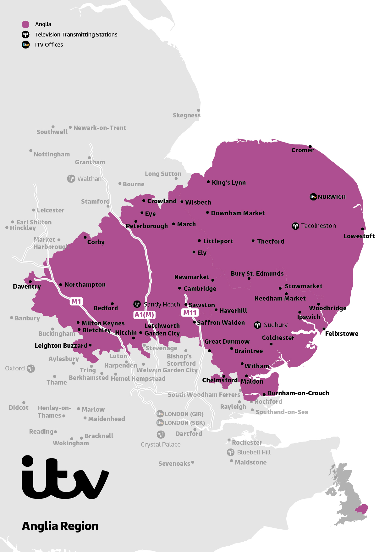 Anglia region map 2019